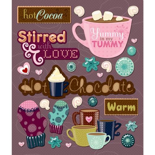 K and Company - Life's Little Occasions Collection - 3 Dimensional Stickers  with  Glitter Accents - Hot Chocolate