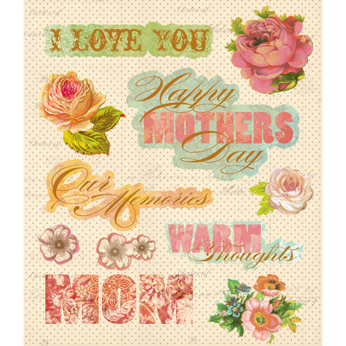K and Company - Life's Little Occasions Collection - 3 Dimensional Stickers  with  Epoxy and Foil Accents - Mothers Day
