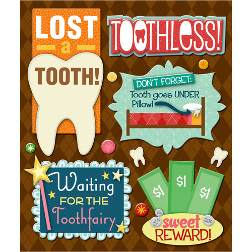 K and Company - Life's Little Occasions Collection - 3 Dimensional Stickers with Epoxy and Glitter Accents - Losing a Tooth
