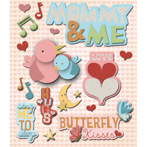 K and Company - Life's Little Occasions Collection - 3 Dimensional Stickers  with  Glitter Accents - Mommy and Me
