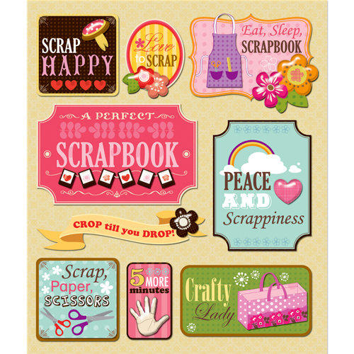 K and Company - Life's Little Occasions Collection - 3 Dimensional Stickers with Epoxy and Glitter Accents - Scrapbook