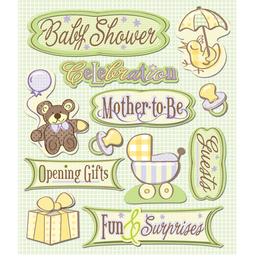 K and Company - Life's Little Occasions Collection - 3 Dimensional Stickers  with  Glitter and Puffy Accents - Baby Shower