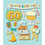 K and Company - Life's Little Occasions Collection - 3 Dimensional Stickers with Epoxy and Glitter Accents - 60th Birthday