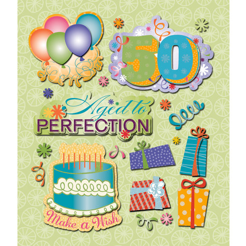 K and Company - Life's Little Occasions Collection - 3 Dimensional Stickers with Glitter And Puffy Accents - 50th Birthday, CLEARANCE