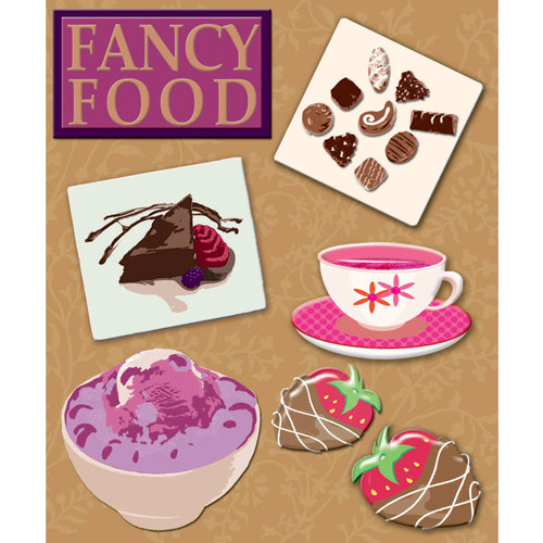 K and Company - Life's Little Occasions Collection - 3 Dimensional Stickers with Epoxy and Glitter Accents - Fancy Food