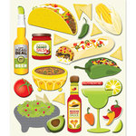 K and Company - Life's Little Occasions Collection - 3 Dimensional Stickers  with  Varnish Accents - Mexican