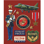 K and Company - Life's Little Occasions Collection - 3 Dimensional Stickers with Epoxy Accents - Marines