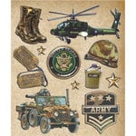 K and Company - Life's Little Occasions Collection - 3 Dimensional Stickers  with  Epoxy Accents - Army