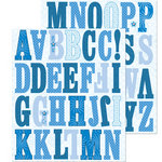 K and Company - Life's Little Occasions Collection - Die Cut Stickers with Glitter and Gem Accents - Americana Alphabet - Blue