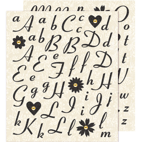 K and Company - Life's Little Occasions Collection - Die Cut Stickers with Glitter and Gem Accents - Black Alphabet, CLEARANCE
