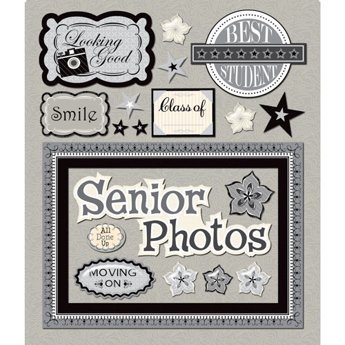 K and Company - Life's Little Occasions Collection - 3 Dimensional Stickers  with  Epoxy and Glitter Accents - Senior Pictures