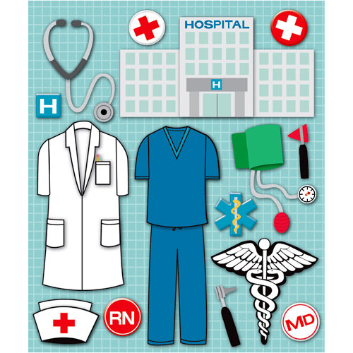 K and Company - Life's Little Occasions Collection - 3 Dimensional Stickers  with  Epoxy and Foil Accents - Doctor and Nurse
