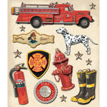 K and Company - Life's Little Occasions Collection - 3 Dimensional Stickers with Epoxy and Varnish Accents - Firefighter
