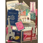 K and Company - Par Avion Collection - Die Cut Cardstock Pieces with Glitter Accents - Icons