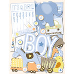 K and Company - Itsy Bitsy Collection - Die Cut Cardstock Pieces with Glitter Accents - Baby Boy
