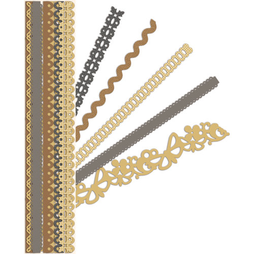 K and Company - Sheer Simplicity Collection - Adhesive Paper Borders with Foil Accents - Neutral