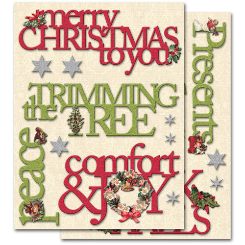 K and Company - Yuletide Collection - Christmas - Adhesive Chipboard with Glitter Accents - Words, CLEARANCE