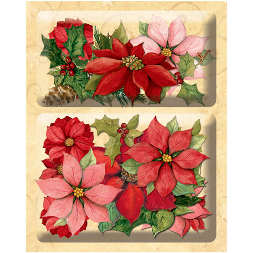 K and Company - Glad Tidings Collection - Christmas - Layered Accents with Glitter Accents - Poinsettia and Holly