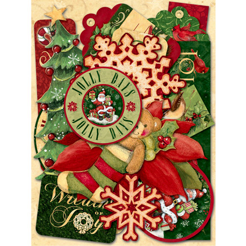 K and Company - Glad Tidings Collection - Christmas - Die Cut Cardstock Pieces with Foil Accents - Words