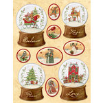 K and Company - Glad Tidings Collection - Christmas - 3 Dimensional Stickers with Glitter Accents - Snow Globe, CLEARANCE