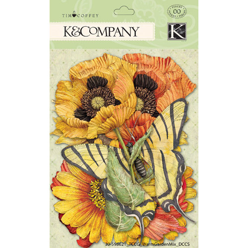 K and Company - Cottage Garden Collection by Tim Coffey - Die Cut Cardstock and Acetate Pieces with Foil Accents - Warm Mix