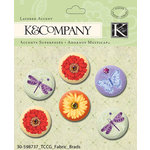 K and Company - Cottage Garden Collection by Tim Coffey - Fabric Brads with Gem Accents