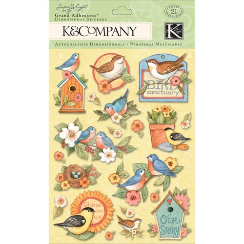 K and Company - Spring Blossom Collection - Grand Adhesions with Glitter Accents - Bird