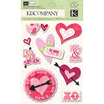 K and Company - Valentine Collection - Grand Adhesions with Glitter Accents - Hearts