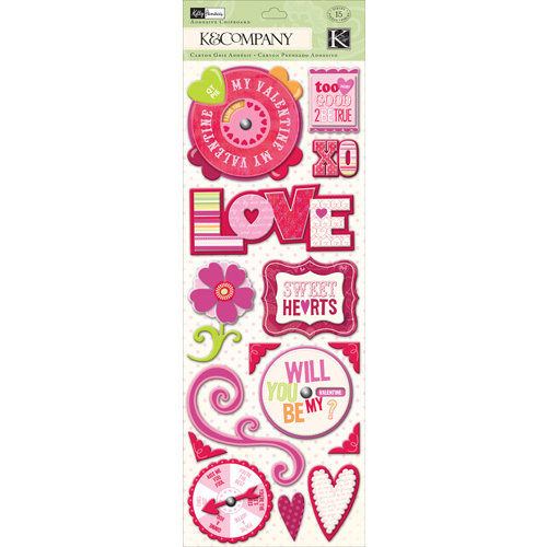 K and Company - Valentine Collection - Adhesive Chipboard with Glitter Accents