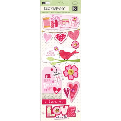 K and Company - Valentine Collection - Stitched Adornments with Gem Accents