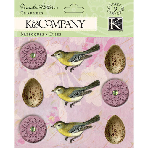 K and Company - Flora and Fauna Collection - Charmers with Gem Accents - Egg and Flower