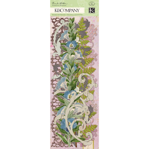 K and Company - Flora and Fauna Collection - Adhesive Borders with Glitter Accents - Swirl