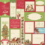 K and Company - Yuletide Collection - Christmas - 12 x 12 Paper with Foil Accents - Words and Phrases Blocks