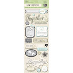 K and Company - Elegance Collection - Adhesive Chipboard with Foil and Gem Accents - Words, CLEARANCE