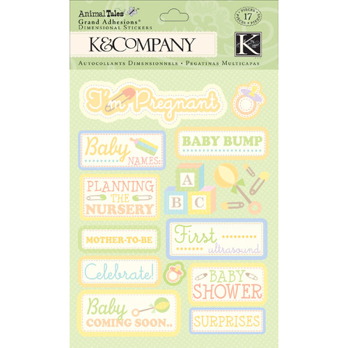 K and Company - Animal Tales Collection - Grand Adhesions with Glitter Accents - Awaiting Baby
