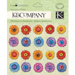 K and Company - Cottage Garden Collection by Tim Coffey - Adhesive Gems with Glitter Accents - Flowers, CLEARANCE