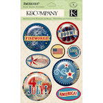 K and Company - Americana Collection - 3 Dimensional Stickers with Glitter Accents - Snow Globe, BRAND NEW