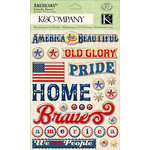 K and Company - Americana Collection - Clearly Yours - Epoxy Stickers with Gem Accents - Word