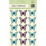 K and Company - Botanical Collection - Adhesive Chipboard with Glitter and Gem Accents - Butterfly