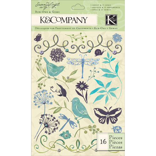 K and Company - Botanical Collection - Rub Ons with Gem Accents