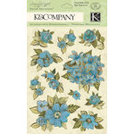 K and Company - Botanical Collection - Grand Adhesions with Gem and Glitter Accents - Blue Floral