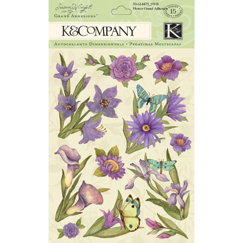 K and Company - Botanical Collection - Grand Adhesions with Gem and Glitter Accents - Purple Floral