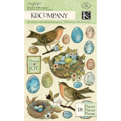 K and Company - Botanical Collection - Grand Adhesions with Gem and Glitter Accents - Robin