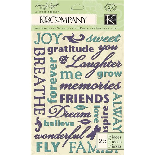 K and Company - Botanical Collection - Glitter Stickers - Word