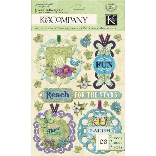 K and Company - Botanical Collection - Grand Adhesions with Gem and Glitter Accents - Tag