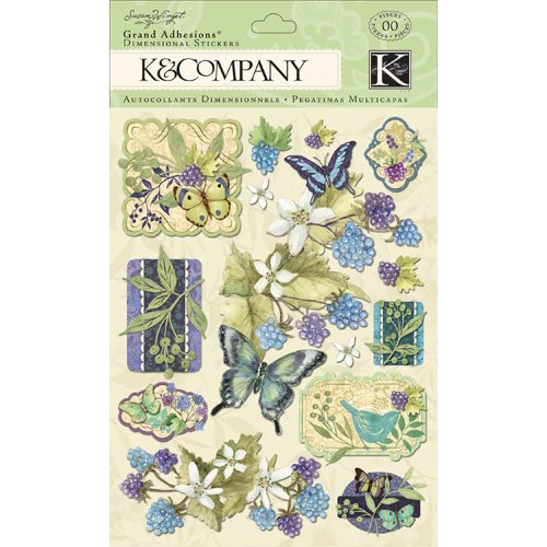 K and Company - Botanical Collection - Grand Adhesions with Gem and Glitter Accents - Icon