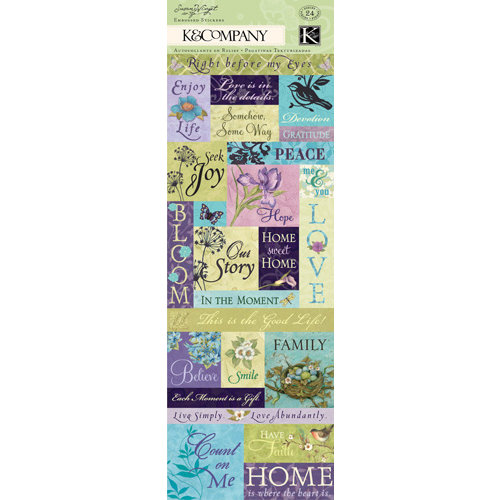 K and Company - Botanical Collection - Embossed Stickers with Glitter Accents - Words and Phrases