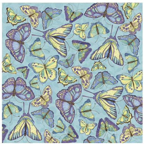 K and Company - Botanical Collection - 12 x 12 Paper with Glitter Accents - Butterfly