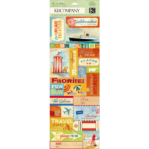 K and Company - Around the World Collection - Embossed Stickers with Foil Accents - Labels and Words
