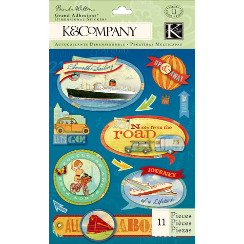 K and Company - Around the World Collection - Grand Adhesions with Glitter Accents - Transportation